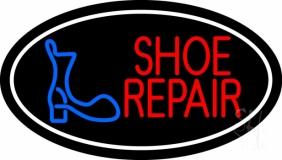 Shoe Repair Logo White Border LED Neon Sign