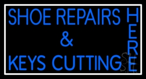 Shoe Repairs Key Cutting Here With Border LED Neon Sign