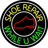 Shoe Repair While You Wait With White Border LED Neon Sign