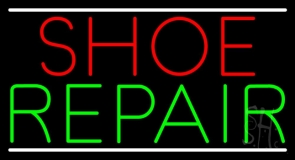 Shoe Repair White Lines LED Neon Sign