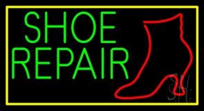 Shoe Repair Yellow Border LED Neon Sign