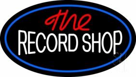 The Record Shop Block Blue Border LED Neon Sign