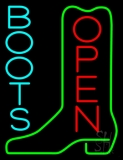 Turquoise Boots Open LED Neon Sign