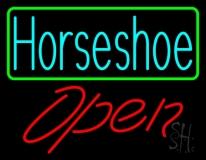 Turquoise Horseshoe Open With Border LED Neon Sign