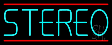 Turquoise Stereo Block Red Line LED Neon Sign