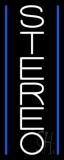 Vertical White Stereo Block Blue Line 1 LED Neon Sign