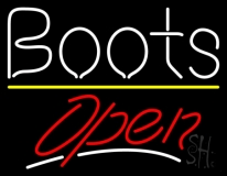 White Boots Open LED Neon Sign