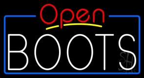 White Boots Open With Border LED Neon Sign