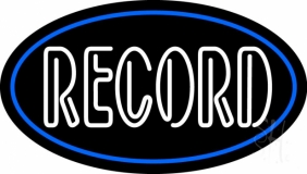 White Colored Records 1 LED Neon Sign