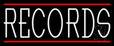 White Records Red Line LED Neon Sign