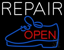 White Repair Blue Shoe Open LED Neon Sign