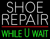 White Shoe Repair Green While You Wait LED Neon Sign