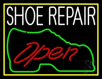 White Shoe Repair Open LED Neon Sign