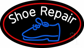 White Shoe Repair With Border LED Neon Sign