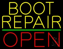 Yellow Boot Repair Open LED Neon Sign
