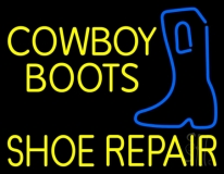Yellow Cowboy Boots Shoe Repair LED Neon Sign