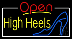 Yellow High Heels Open With White Border LED Neon Sign