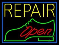 Yellow Repair Shoe Logo Open LED Neon Sign