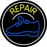Yellow Repair Shoe With Border LED Neon Sign