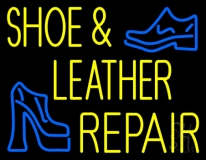 Yellow Shoe and Leather Repair LED Neon Sign