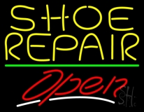 Yellow Shoe Repair Open With Green Line LED Neon Sign