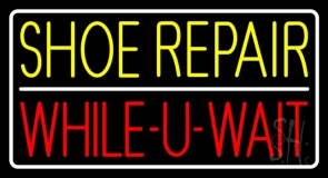 Yellow Shoe Repair Red While You Wait LED Neon Sign