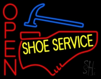 Yellow Shoe Service Open LED Neon Sign