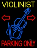 Yellow Violinist Red Parking Only LED Neon Sign