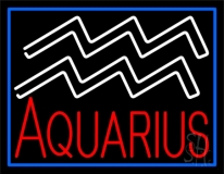Aquarius Zodiac Blue Border LED Neon Sign