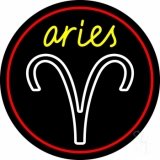 Aries Yellow Zodiac Border Red LED Neon Sign