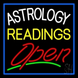 Astrology Readings Open And Blue Border LED Neon Sign