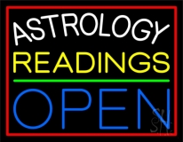 Astrology Readings Open Red Border LED Neon Sign