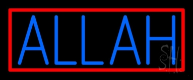 Blue Allah Red Border Neon Sign