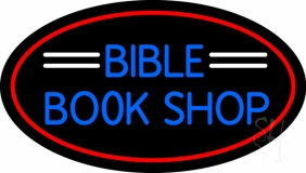 Blue Bible Book Shop LED Neon Sign