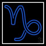 Blue Capricorn Logo White Border LED Neon Sign