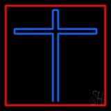 Blue Christian Cross Red Border LED Neon Sign