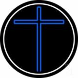 Blue Christian Cross White Border LED Neon Sign
