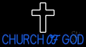 Blue Church Of God LED Neon Sign