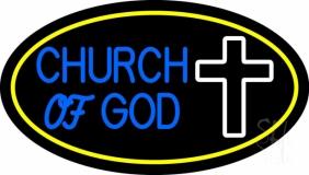 Blue Church Of God Yellow Border LED Neon Sign