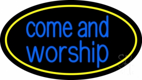 Blue Come And Worship LED Neon Sign