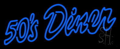 Blue Cursive 50s Diner Neon Sign