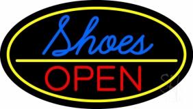 Blue Cursive Shoes Open LED Neon Sign