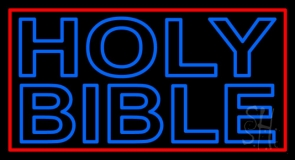 Blue Holy Bible LED Neon Sign