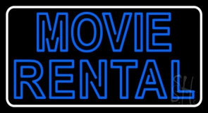 Blue Movie Rental LED Neon Sign