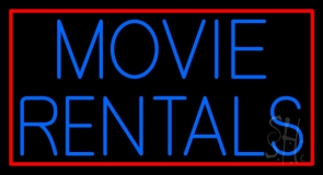 Blue Movie Rentals With Border LED Neon Sign