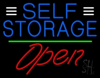 Blue Self Storage With Open 2 LED Neon Sign