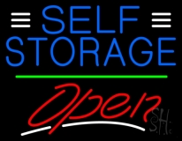 Blue Self Storage With Open 3 LED Neon Sign