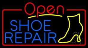 Blue Shoe Repair Open LED Neon Sign