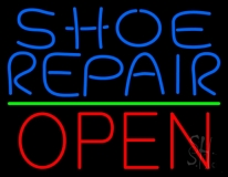 Blue Shoe Repair Open With Green Line LED Neon Sign