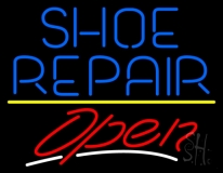 Blue Shoe Repair Open With Line LED Neon Sign